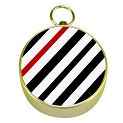 Red, Black And White Lines Gold Compasses by Valentinaart