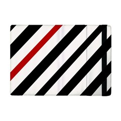 Red, Black And White Lines Ipad Mini 2 Flip Cases by Valentinaart