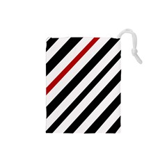 Red, Black And White Lines Drawstring Pouches (small)  by Valentinaart