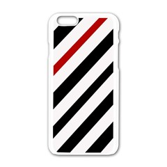 Red, Black And White Lines Apple Iphone 6/6s White Enamel Case by Valentinaart