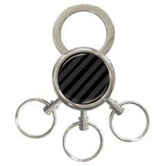 Gray And Black Lines 3 Ring Key Chains by Valentinaart