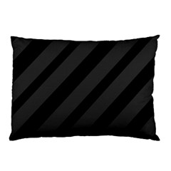 Gray And Black Lines Pillow Case by Valentinaart