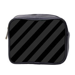 Gray And Black Lines Mini Toiletries Bag 2 Side by Valentinaart
