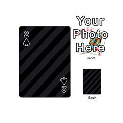 Gray And Black Lines Playing Cards 54 (mini)  by Valentinaart