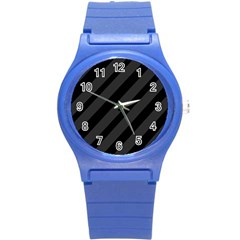 Gray And Black Lines Round Plastic Sport Watch (s) by Valentinaart