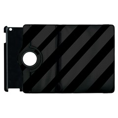 Gray And Black Lines Apple Ipad 2 Flip 360 Case by Valentinaart