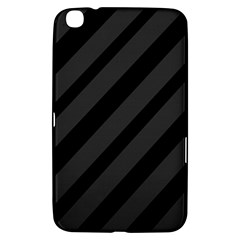 Gray And Black Lines Samsung Galaxy Tab 3 (8 ) T3100 Hardshell Case  by Valentinaart
