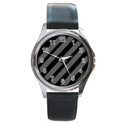 Black And Gray Lines Round Metal Watch by Valentinaart