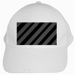 Black And Gray Lines White Cap by Valentinaart