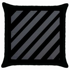 Black And Gray Lines Throw Pillow Case (black) by Valentinaart