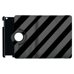 Black And Gray Lines Apple Ipad 3/4 Flip 360 Case by Valentinaart
