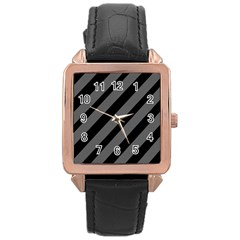 Black And Gray Lines Rose Gold Leather Watch  by Valentinaart