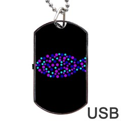 Purple Fish Dog Tag Usb Flash (one Side) by Valentinaart