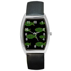Green Fishes Pattern Barrel Style Metal Watch by Valentinaart