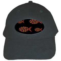 Orange Fishes Pattern Black Cap by Valentinaart