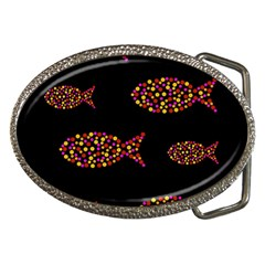 Orange Fishes Pattern Belt Buckles by Valentinaart