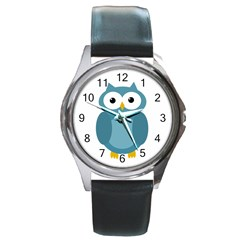 Cute Blue Owl Round Metal Watch by Valentinaart