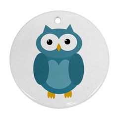 Cute Blue Owl Ornament (round)  by Valentinaart