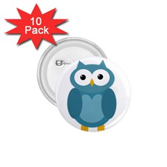 Cute blue owl 1.75  Buttons (10 pack) by Valentinaart