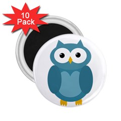 Cute Blue Owl 2 25  Magnets (10 Pack)  by Valentinaart
