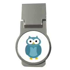 Cute Blue Owl Money Clips (round)  by Valentinaart