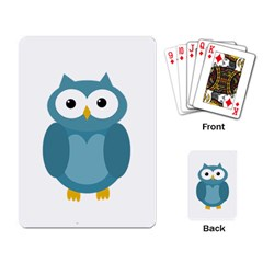 Cute Blue Owl Playing Card by Valentinaart