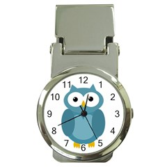 Cute Blue Owl Money Clip Watches by Valentinaart