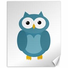 Cute Blue Owl Canvas 16  X 20   by Valentinaart