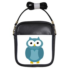 Cute Blue Owl Girls Sling Bags by Valentinaart