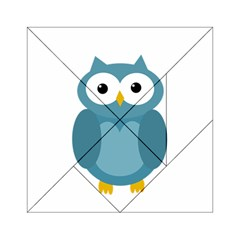 Cute Blue Owl Acrylic Tangram Puzzle (6  X 6 ) by Valentinaart