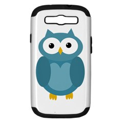 Cute Blue Owl Samsung Galaxy S Iii Hardshell Case (pc+silicone) by Valentinaart