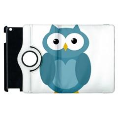 Cute Blue Owl Apple Ipad 2 Flip 360 Case by Valentinaart