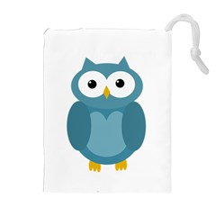 Cute Blue Owl Drawstring Pouches (extra Large) by Valentinaart