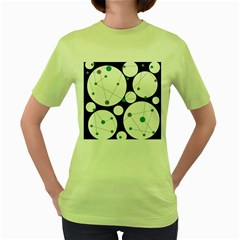 Decorative Circles   Blue Women s Green T Shirt by Valentinaart