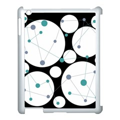 Decorative Circles   Blue Apple Ipad 3/4 Case (white) by Valentinaart