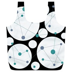 Decorative Circles   Blue Full Print Recycle Bags (l)  by Valentinaart