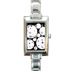 Decorative Circles   Purple Rectangle Italian Charm Watch by Valentinaart