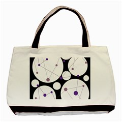 Decorative Circles   Purple Basic Tote Bag (two Sides) by Valentinaart