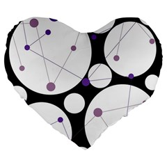 Decorative Circles   Purple Large 19  Premium Heart Shape Cushions by Valentinaart