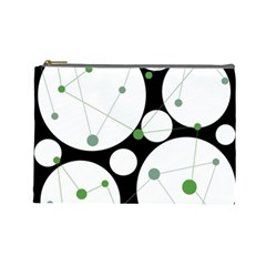 Decorative Circles   Green Cosmetic Bag (large)  by Valentinaart