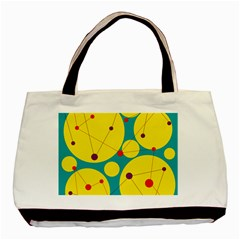 Yellow And Green Decorative Circles Basic Tote Bag by Valentinaart