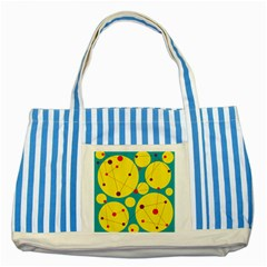 Yellow And Green Decorative Circles Striped Blue Tote Bag by Valentinaart