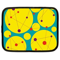 Yellow And Green Decorative Circles Netbook Case (large) by Valentinaart