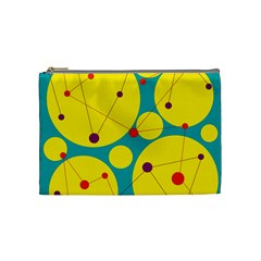 Yellow And Green Decorative Circles Cosmetic Bag (medium)  by Valentinaart