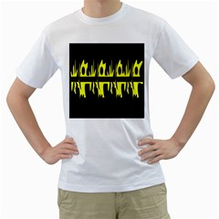 Yellow Abstract Pattern Men s T Shirt (white) (two Sided) by Valentinaart