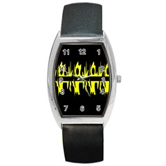 Yellow Abstract Pattern Barrel Style Metal Watch by Valentinaart