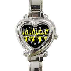 Yellow Abstract Pattern Heart Italian Charm Watch by Valentinaart