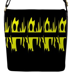 Yellow Abstract Pattern Flap Messenger Bag (s) by Valentinaart