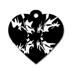 Black And White Pattern Dog Tag Heart (two Sides) by Valentinaart