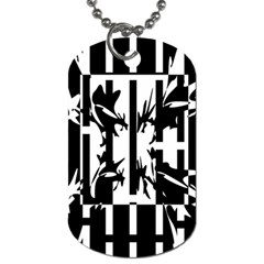 Black And White Abstraction Dog Tag (two Sides) by Valentinaart